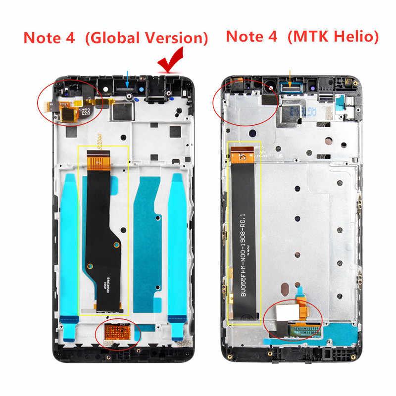 """5.5 """"display lcd para xiaomi redmi nota 4x/nota 4 versão global tela de toque digitador assembléia com quadro para snapdragon 625"""