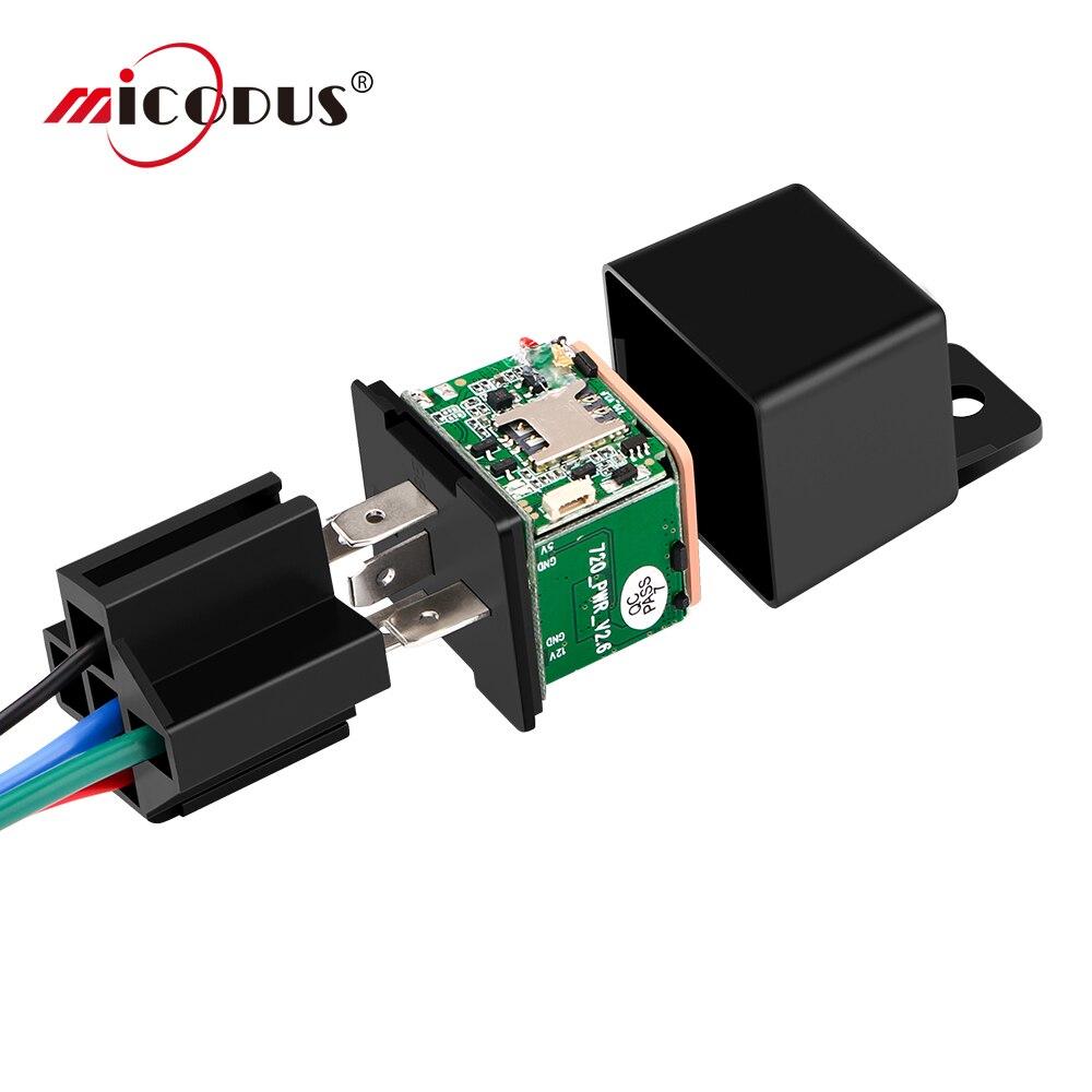 Mini rastreador gps carro rastreador micodus mv720 relé escondido design cortar combustível carro gps localizador 10-40 v 80 mah vibrar alerta aplicativo gratuito