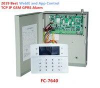 Melhor Alarme FC-7640 Rj45 Industrial Ethernet 32 8 Zonas Com Fio Sistema de Alarme Sem Fio Zonas Tcp Ip Sistema De Alarme Gsm Com caixa de metal