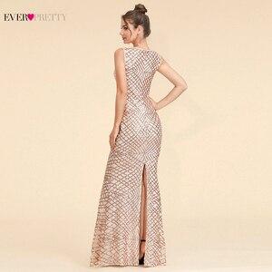 Image 2 - Sparkle Evening Dresses Long Ever Pretty EP07453BD A Line V Neck Ruched Elegant Burgundy Evening Gowns Abendkleider Lang 2020