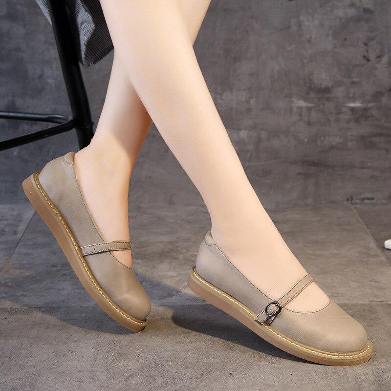 2020 neue Echtem Leder Oxford Schuhe Für Frauen Flache Schuhe Chaussures Femme Retro Handgemachte Slip Auf Casual Schuhe Frauen - 3