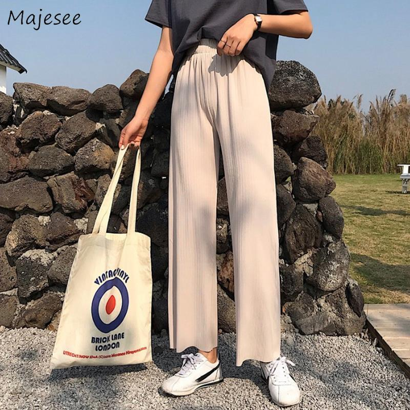 Pants Women Elastic Waist Wide Leg Loose Work Wear Straight Slouchy Pant Female Summer Hot Selling Leisure Elegant New Fashion