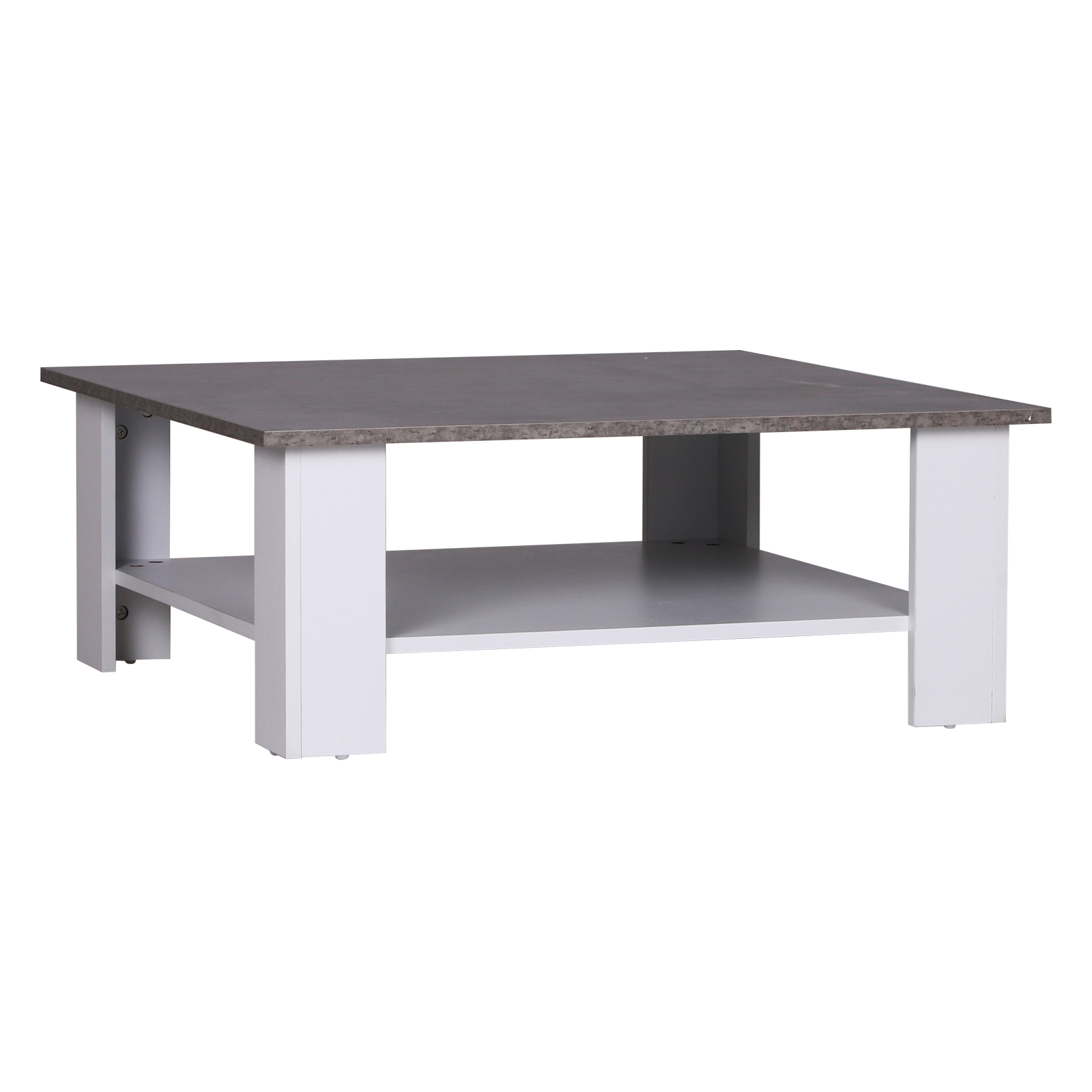 HOMCOM Coffee Table Large Shelf Stable From Living In Particle Board 80x80x31,5 Cm Cement, White