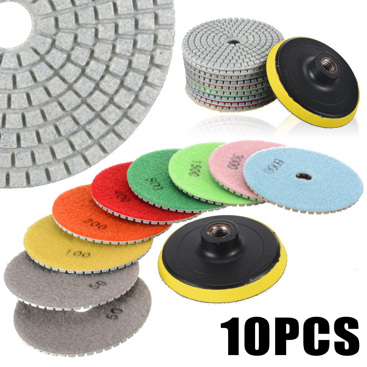 10Pcs Diamond Polishing Pads Kit 4 Inch M14 Polishing Wheel For Granite Stone Concrete Marble Polishing Tool Grinding Discs Set
