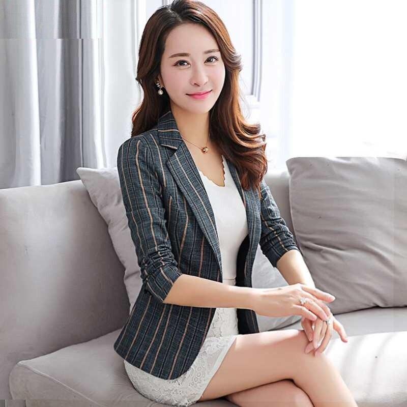 Fashion Women Plus Size Blazer Notched Collar Casual Pocket New 2020 Spring Autumn Button Suit Female Jackets Slim Coat S0284