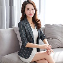 Fashion Women Plus Size Blazer Notched Collar Casual Pocket New 2020 Spring Autumn Button suit female Jackets Slim Coat S0284(China)