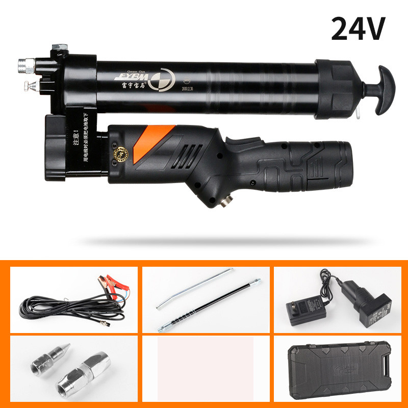Electric Grease Gun Handheld Rechargeable Lithium Battery 24V Mechanical Filling Gun For Excavators