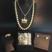 Luxury Men Gold Watch Hip Hop Men Gold Cross Crown Necklace Men Watch& Necklace&Bracelet&Ring&Earrings combo Set Jewerly For Men