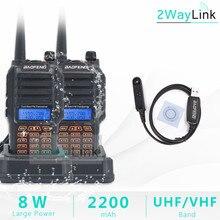 2 pièces BAOFENG UV 9R Plus câble de programmation 8W puissance IP67 étanche talkie walkie anti poussière 10km longue portée Radio bidirectionnelle uv9r