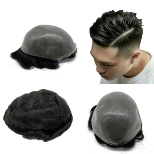 Image 1 - Toupee Hair Wigs for Men Skin PU base 100% remy Human Hair Replacement Toupees