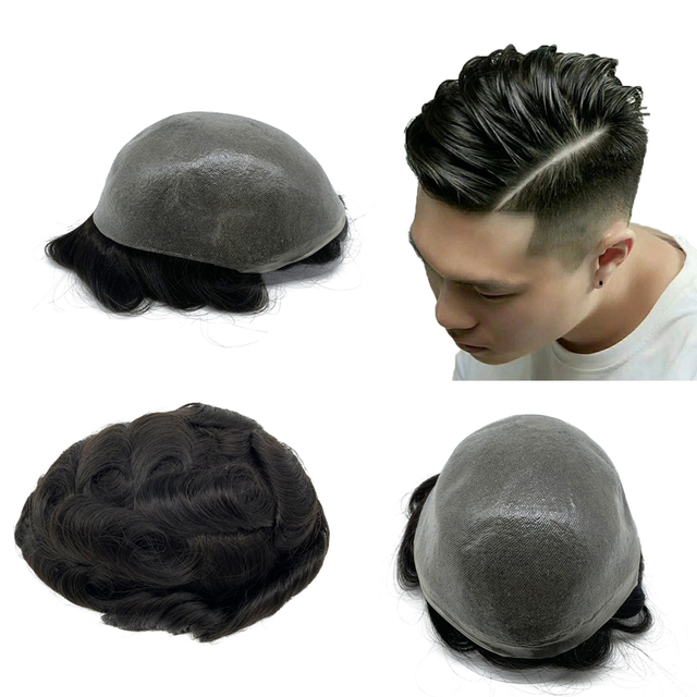 Toupee Hair Wigs for Men Skin PU base 100% remy Human Hair Replacement Toupees
