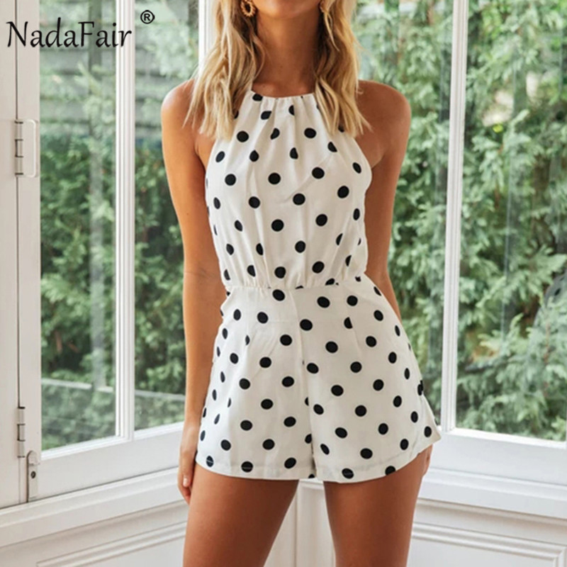 Nadafair Woman Short Jumpsuit Sexy Off Shoulder Backless Halter Chiffon Polka Dot White Summer Playsuit Women