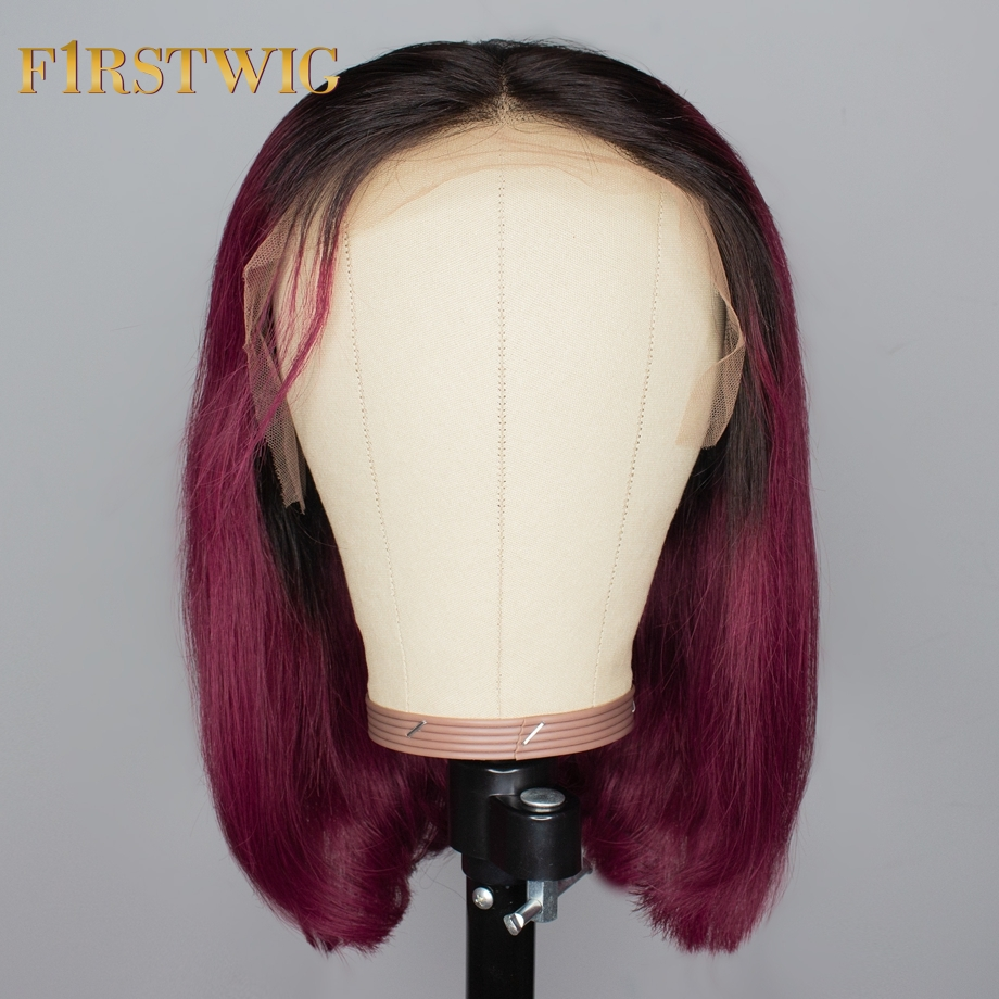 Brazilian Lace Front Human Hair Wigs Straight Natural Ombre Burgundy Purple Human Hair Color Short Long Wig Remy 13x4 FirstWig