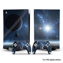 Galaxy cilt Sticker için PS5 aksesuarları joystick dijital baskı çıkartması cilt Sony PlayStation 5 konsol ve 2 kontrolörleri
