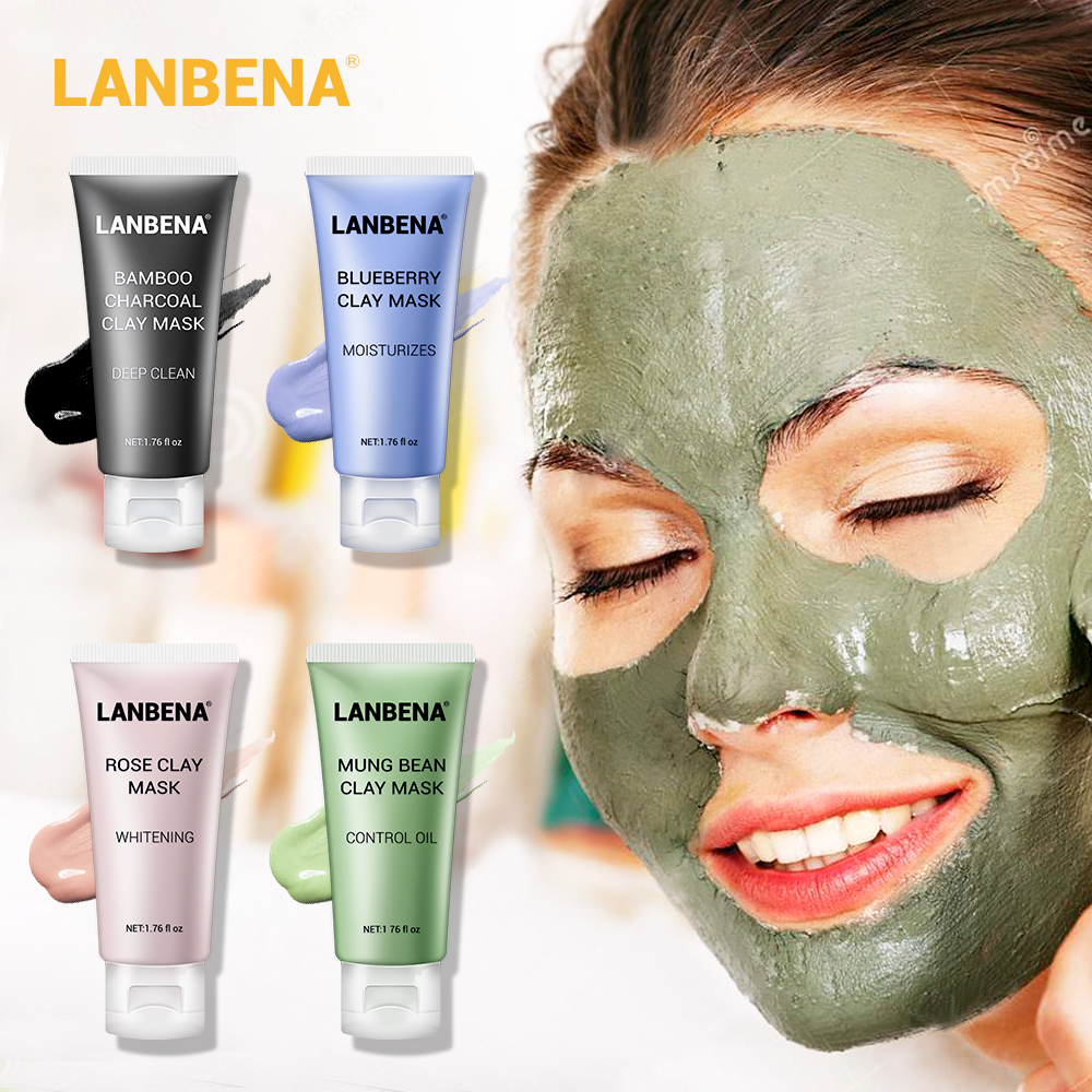 LANBENA Face Mask Skin Care Black Masks Mung Bean Clay Masks Facial Mask Blueberry Rose Bamboo Charcoal Blackhead Remover Mask