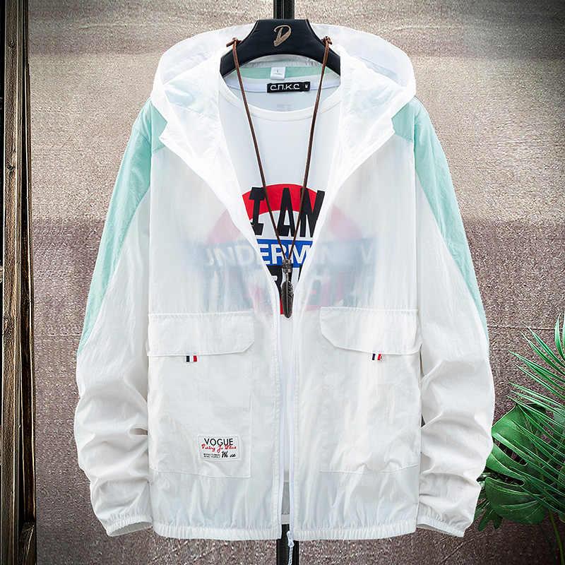 Güneş UV koruma 6XL 7XL 8XL kapüşonlu ceket balıkçılık Unisex Ultra hafif nefes açık spor yaz su geçirmez hızlı kuru ceket