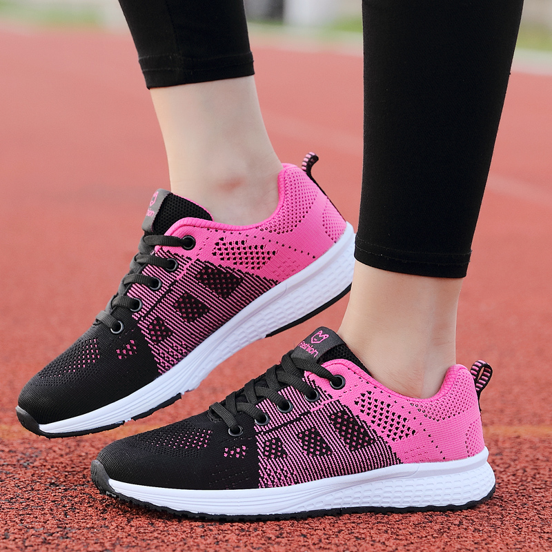 2020 Women Shoes Flats Fashion Casual Ladies Walking Woman Lace-Up Mesh Breathable Female Sneakers Zapatillas Mujer Feminino 9