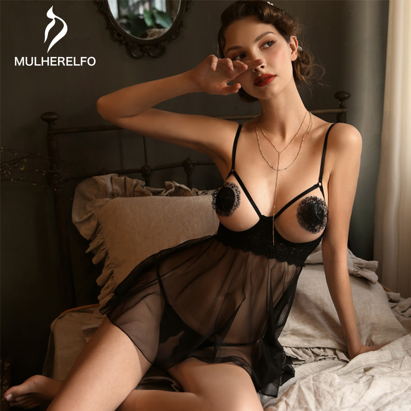 Black Mesh See Through Women Lace Sexy Nightgown Camis Sleeveless Sashes Mini Night Dress Woman Lingerie Sleepwear Women Gecelik