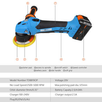 20V Dual Action Orbital Polisher DA Car Polishing Tool Variable Speed Sander Buffing Waxing Machine 125mm M10 Sanding Pad NEWONE