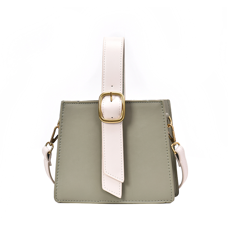 Fashion Lady Square Bag Simple Messenger Art Contrast Designtemperament Daily High Quality Solid Green