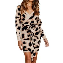 Womens Sexy Wrap V-Neck Bodycon Mini Sweater Dress Leopard Backless Knitwear