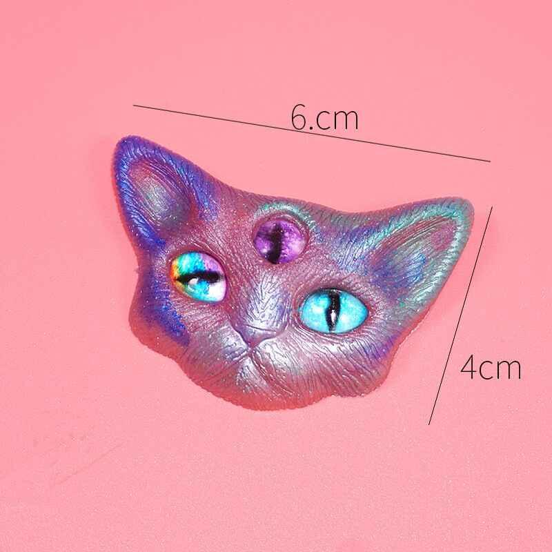 悪魔猫ヘッドの接着剤シリコーン型ペンダントdiyクリスタルグルー素材ミラー三目猫ヘッド半三次元角猫