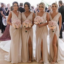 2019 V Neck Chiffon Mermaid Long Cheap Bridesmaids Dresses R