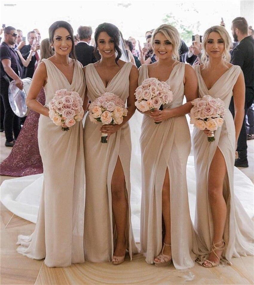2020 V Neck Chiffon Mermaid Long Cheap Bridesmaids Dresses Ruched Split Summer Beach Wedding Guest Plus Size Maid Of Honor