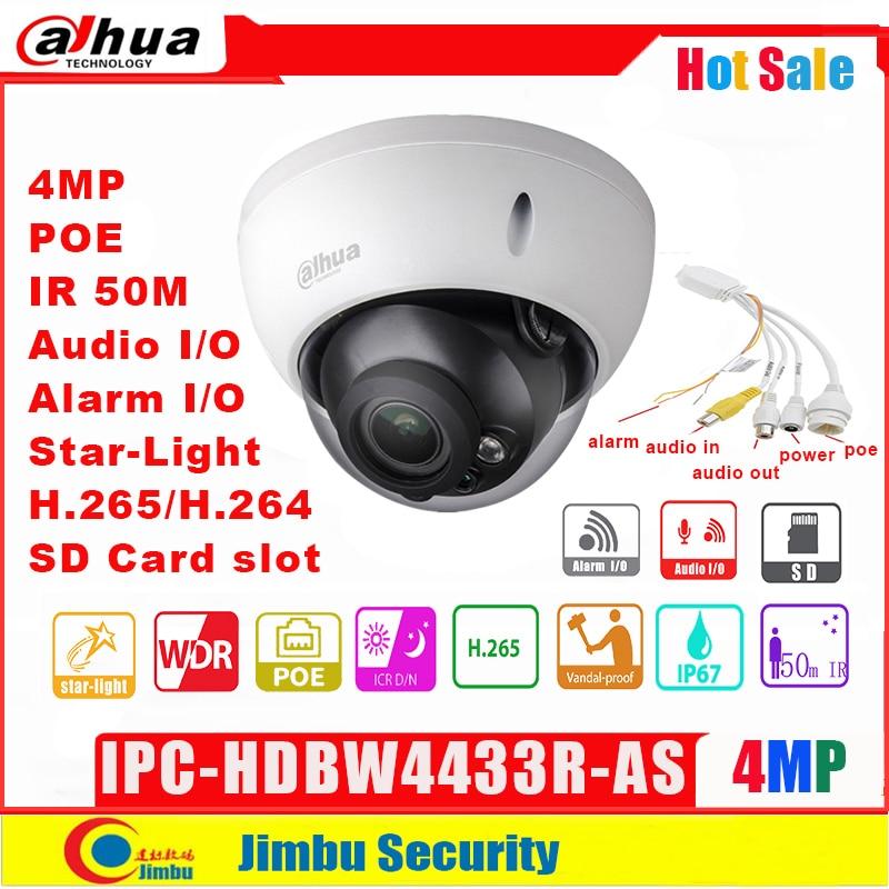 Dahua 4MP IP Camera IPC-HDBW4433R-AS H.265 starlight IR50m have Audio in/out security cctv POE network camera IK10 IP67