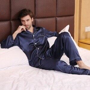 Image 4 - Pyjama en soie à manches longues pour hommes, ensemble vêtement de luxe mince, soie glacée, pour la maison