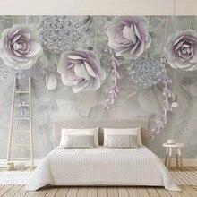 Papel personalizado de parede 3d, murales florales lila para el fondo del dormitorio de la sala de estar decoración del hogar papel pintado a prueba de agua