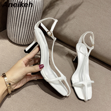 Aneikeh 2020 New Narrow Band Square Toe Women Gladiator Sandals Summer Fashion A