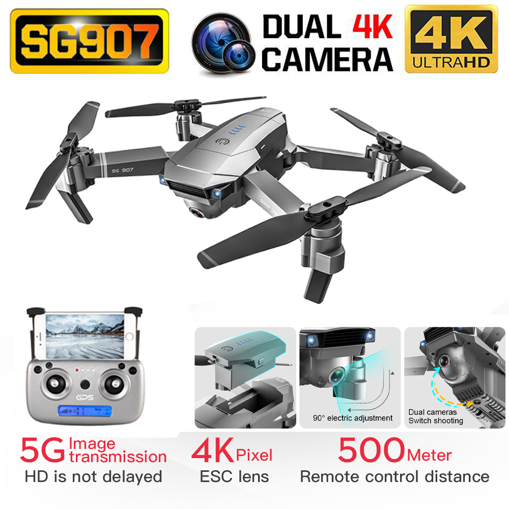Drone Sg907 With Gps 4k 1080p Hd Dual Camera 5g Wifi Rc Quadcopter Optical Flow Positioning Foldable Drone VS E520S E58