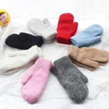 Warm Gloves Cashmere Female Winter Children Thick Plush Light Knitted Diy