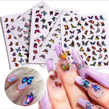 Stickers Nail-Art Butterfly Adhesive Manicure-Decorations Holographic Laser-Color Gradient