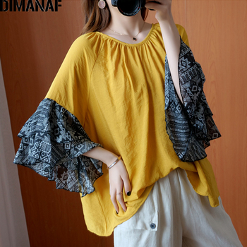 DIMANAF Summer Plus Size Women Blouse Shirts Elegant Lady Tops Tunic Loose Casual Female Clothing Spliced Print Butterfly Sleeve цена 2017