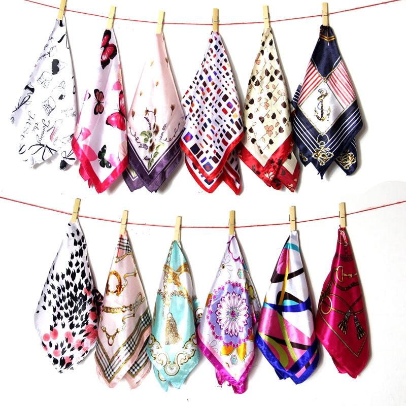 50*50cm Fashion Ladies Scarf Brand Design Printed Scarves Woman's Professional Square Silk Scarf Neckchief Satin Bag Hair Tie