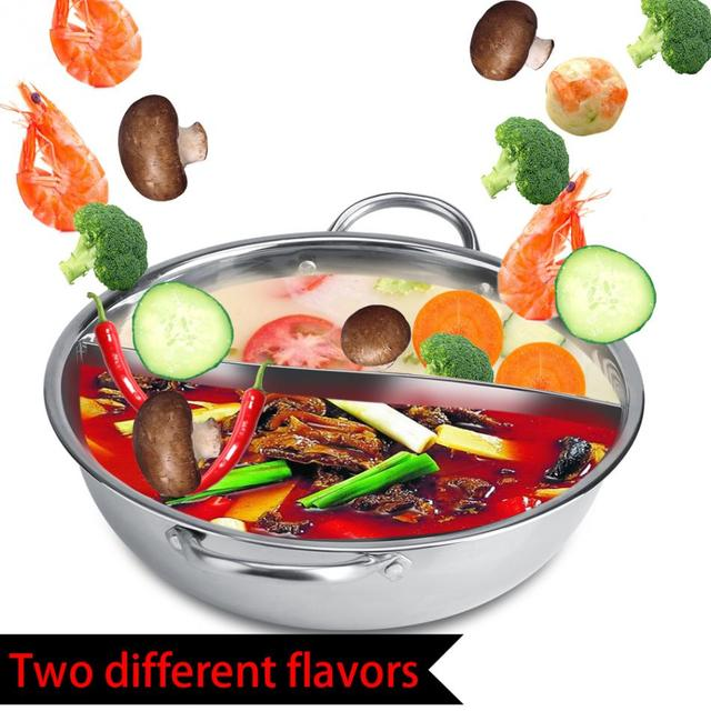 Two Compartments Stainless Steel Soup Cooking Pot