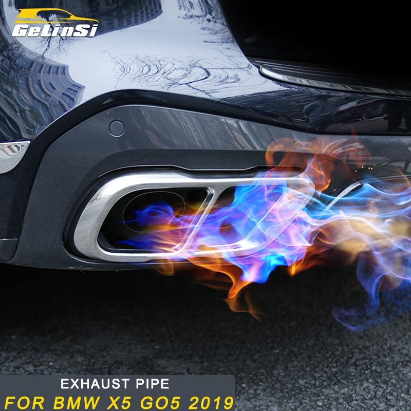 Gelinsi pour BMW X5 G05 2019 voiture style queue tuyaux d'échappement tuyau silencieux cadre couverture garniture autocollant accessoires extérieurs