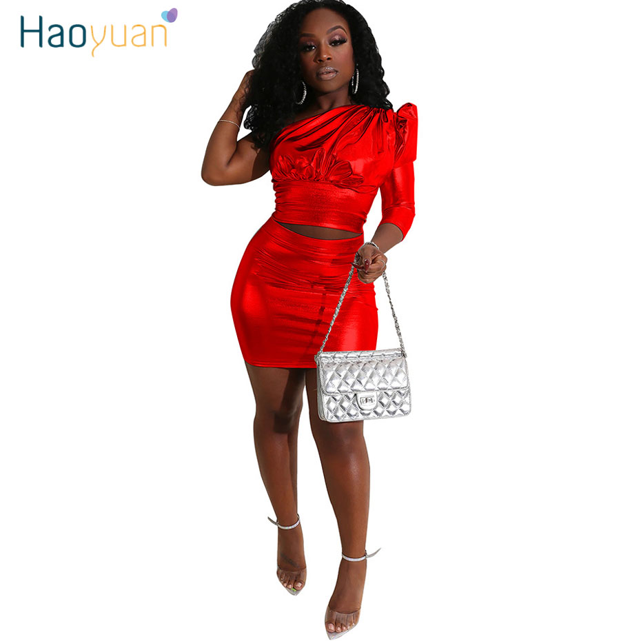 HAOYUAN Gold Reflective Two Piece Set Women One Shoulder Puff Sleeve Crop Top Mini Skirt Matching Sets Sexy Party Club Outfits