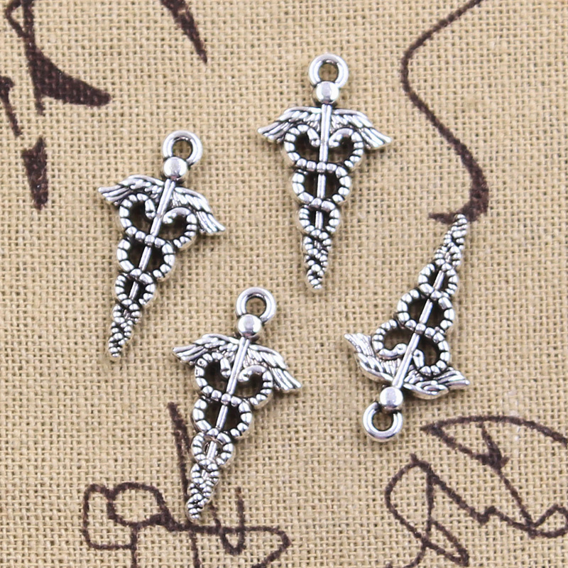 20pcs Charms caduceus medical symbol 25x14mm Antique Silver Color Pendants DIY Crafts Making Findings Handmade Tibetan Jewelry