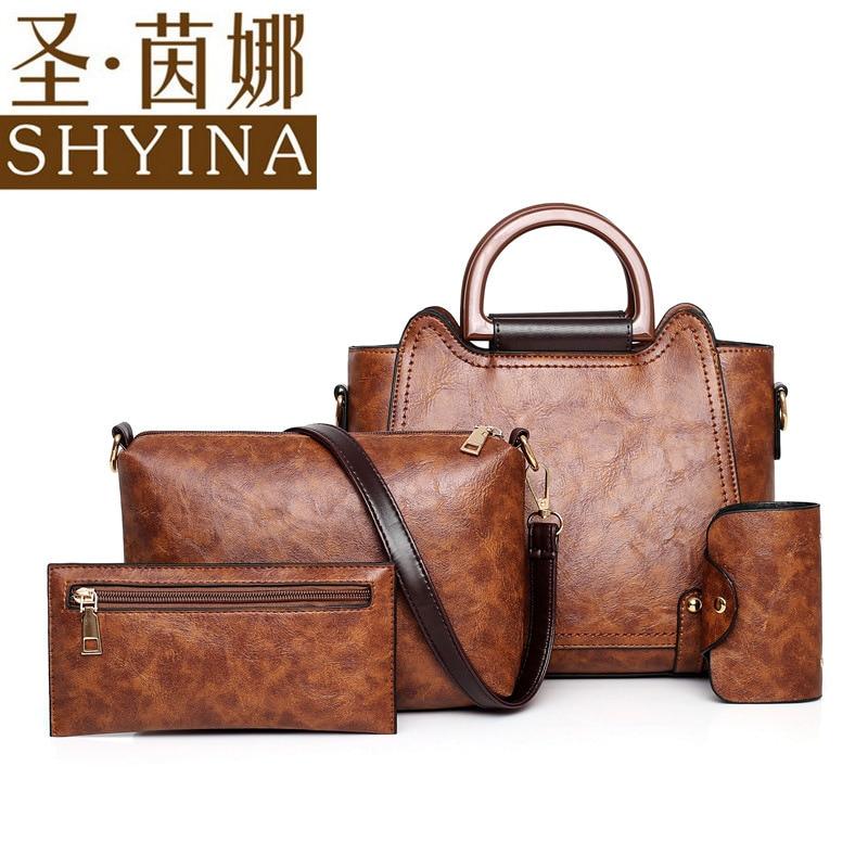 Women's Bag 2020 Different Size Bags Four-Piece Retro Handbag Simple Shoulder/Crossbody Bag