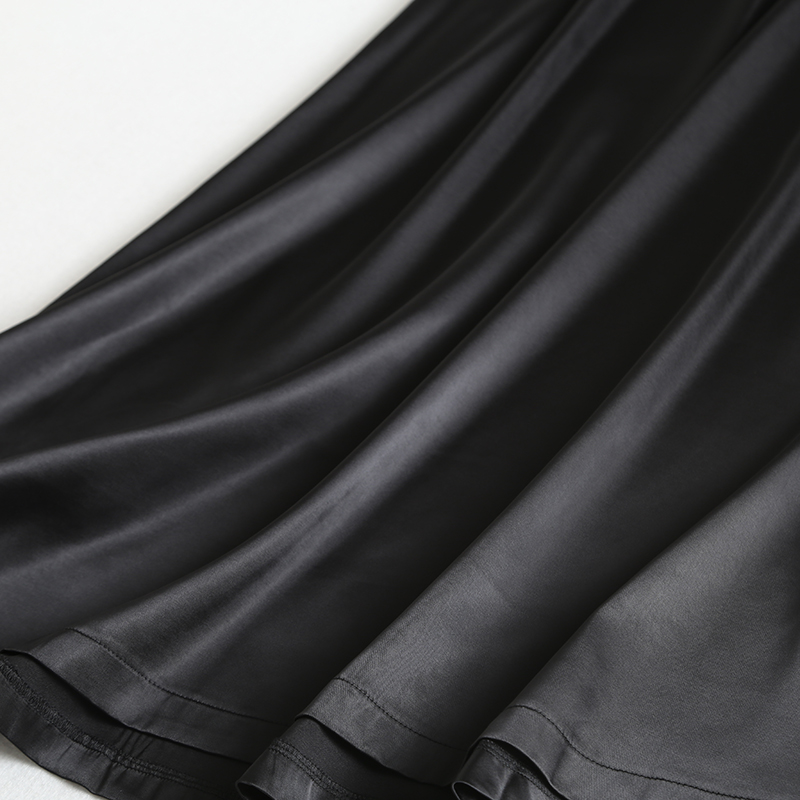 19 New Hot Women Luxury Mid-calf Long Soft Smooth Silk Satin Skirts Office Lady Hight Waist Glossy Silver Black Party Skirt 9