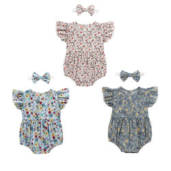 Комбинезон с цветочным принтом для младенцев, комплект из 2 предметов, треугольный комбинезон с рукавами-фонариками, круглым вырезом и повя...