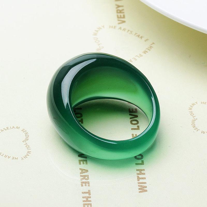 Кольцо из натурального зеленого нефрита, хрустальное кольцо из халцедона, кольца из агата с хвостом, мужские и женские ювелирные изделия, ко...