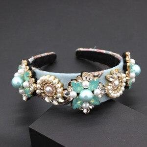 Image 5 - ファッション誇張された多彩なヘッドバンド新バロックヘビー作業高級ファッション真珠の花幾何学 headband797