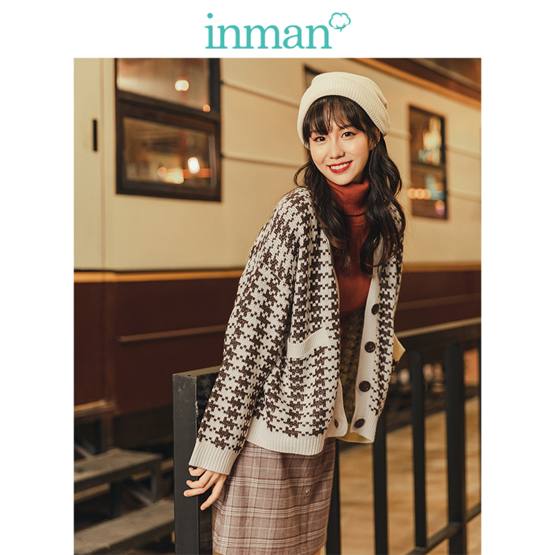 INMAN Spring Autumn Retro Young Girl Literary Houndstooth Contrast V-neck Women Cardigan