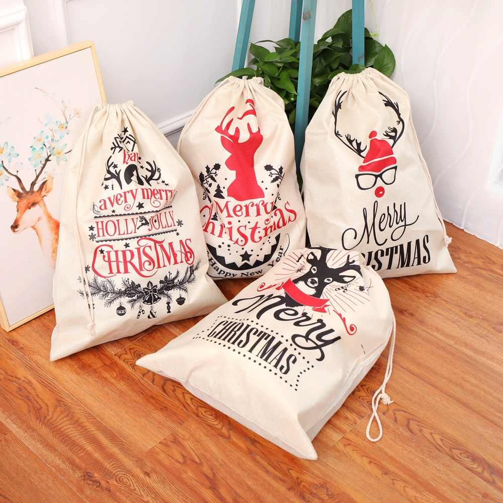 Large Size Christmas Bags Santa Sacks Merry Christmas Xmas Party Happy New Year Holiday DIY Decorations Favor Gifts Bags
