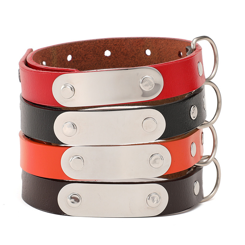 Pet Supplies Pure Leather Small And Medium Dog Neck Ring Genuine Leather Dog Neck Ring Dog Chain
