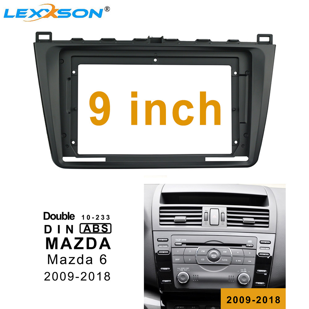 9 Inch Car Fascia Trim <font><b>Kit</b></font> For <font><b>MAZDA</b></font> <font><b>6</b></font> 2009-2018 Double Din Fascia Audio Fitting Adaptor Facia Panel In-<font><b>dash</b></font> Installation image